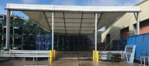 The loading canopy installed by Spaciotempo at Sanoh's Bristol base.
