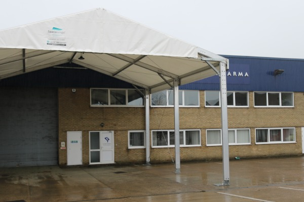 The 100sqm loading canopy which Spaciotempo installed at Central Pharma.