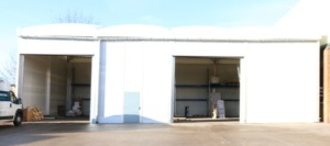 The 10m wide by 20m long loading and unloading canopy.