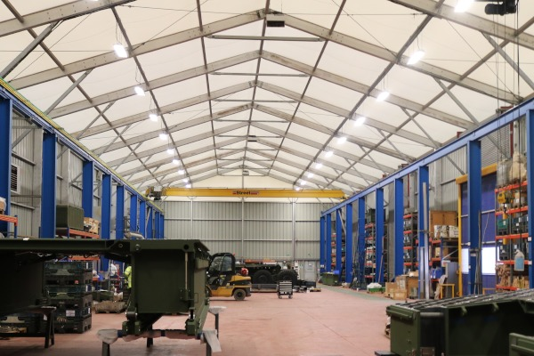 The interior of the extended temporary building at WFEL.