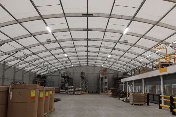 The interior of Mantra Learning's Oxygen building which has been transformed into a simulated warehouse.