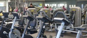 An interior shot of the new gym installed by Spaciotempo at GLL Bude.