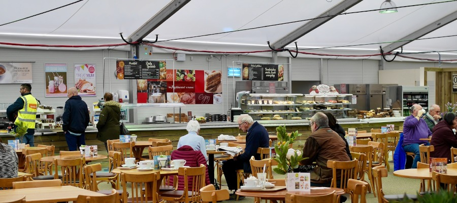 The 180-seat cafe at the temporary Haskins Garden Centre in East Grinstead.
