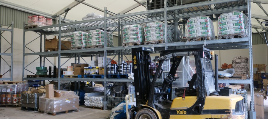 The interior of the temporary warehouse at Keyline Exeter.