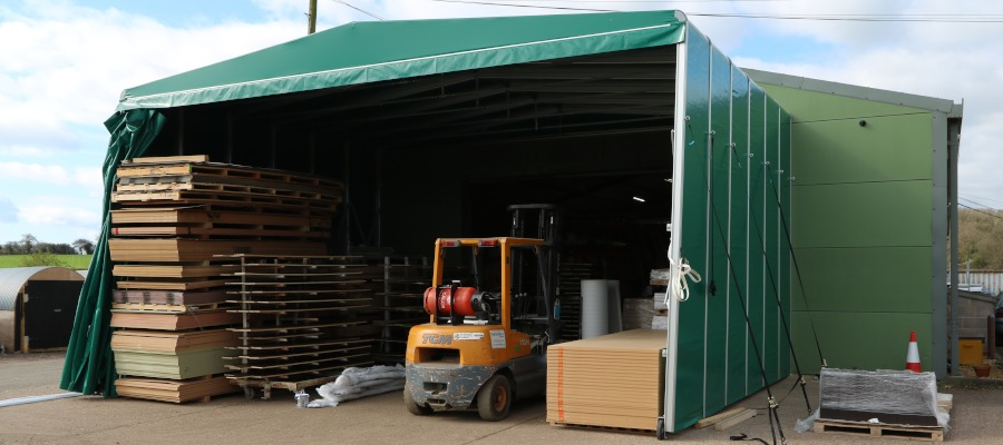 A front view of the bespoke retractable tunnel at ICM Ltd.
