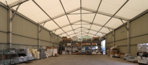An internal photo of the bespoke blue warehouse at Keyline in Leeds